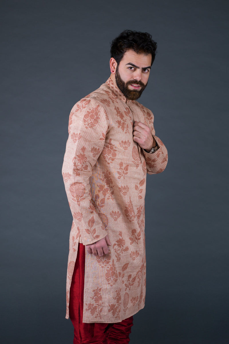 Salmon linen self color block printed kurta with off white cotton silk churidaar