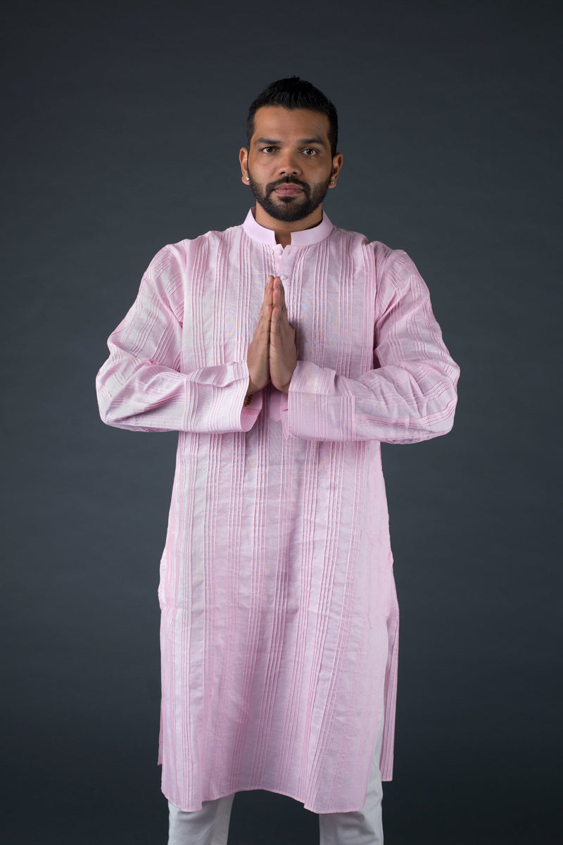 Pintuck Linen kurta with off white cotton silk churidaar