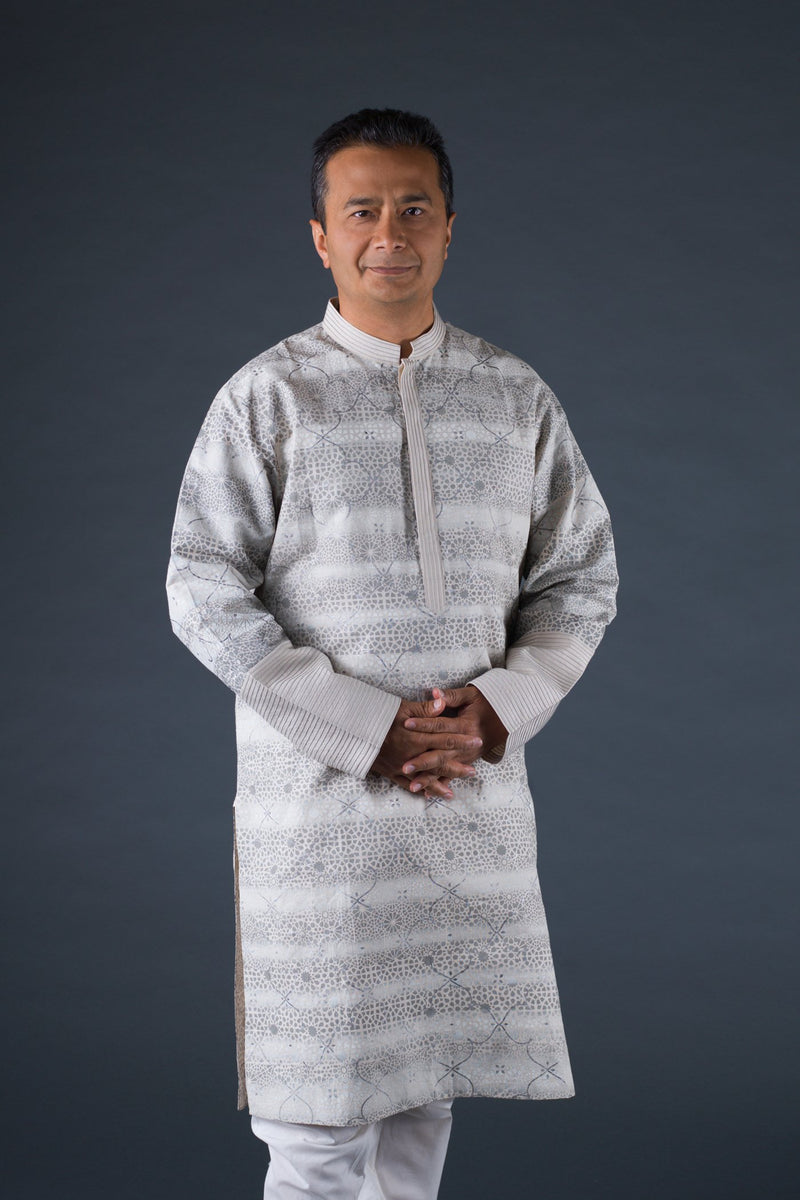 Off-white and grey linen block printed, placket tagai kurta with off-white cotton churidaar
