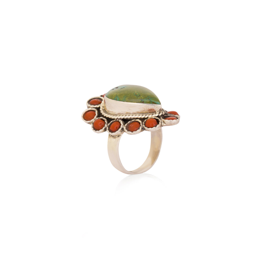 Attractive Coral Turquoise Ring