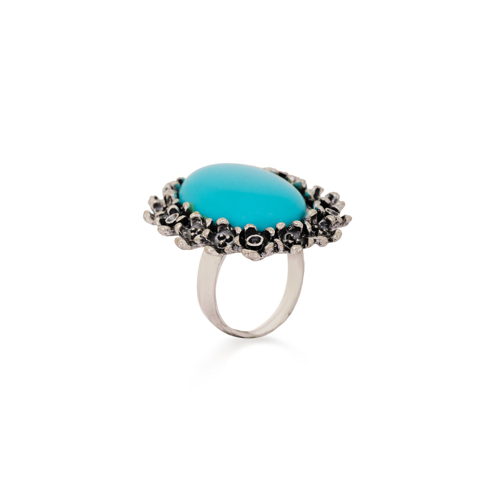 Cute Floral Gemstone Ring