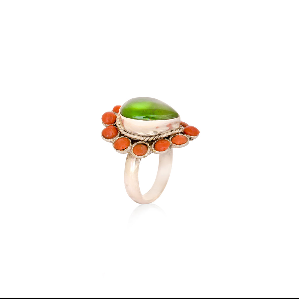 Pretty Coral & Turquoise Ring