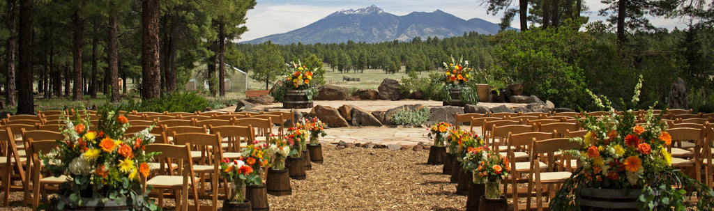 Connie and Jessie's May Wedding • Coral, Greenery, and the Pines in Flagstaff, Arizona