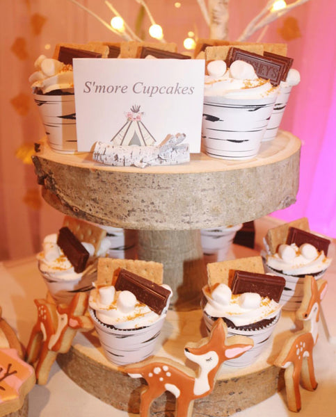 Birch Cupcake Stand with Cupcakes