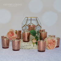 Blush Mercury Glass Candle Holders