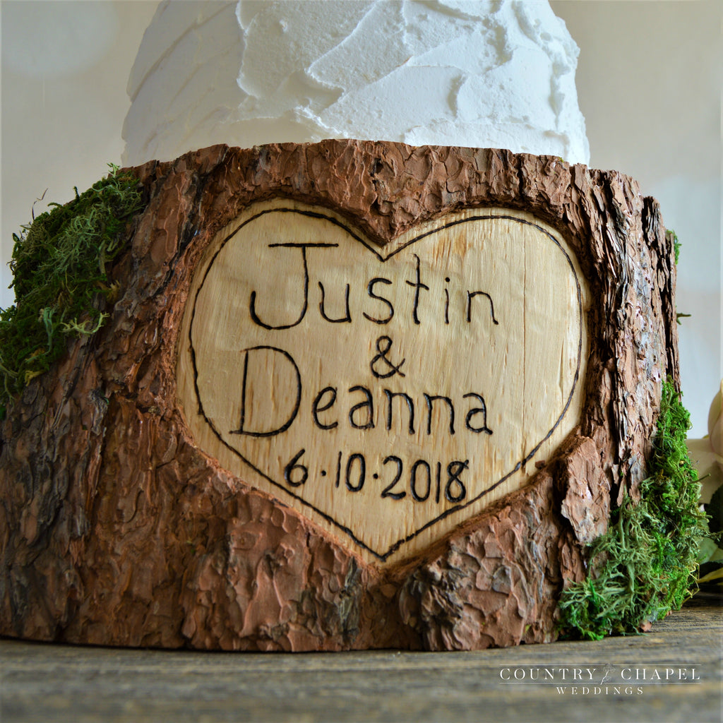 Personalized Heart In Tree Cake Stand Country Chapel