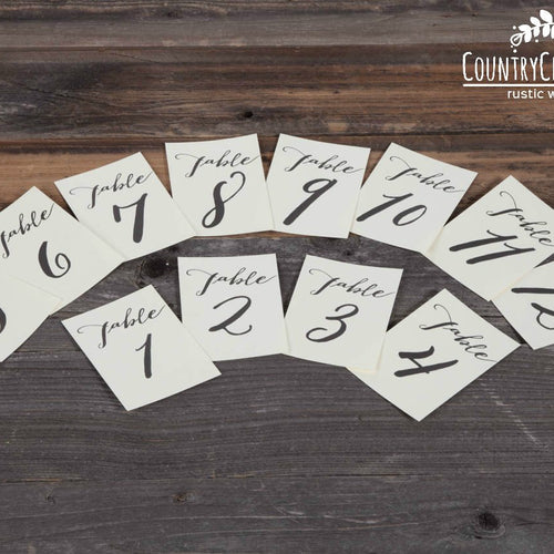 Calligraphy Table Number Prints ~ Choose Your Size