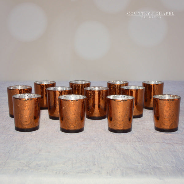Copper Mercury Glass Candle Holders