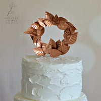 Copper Leaves Cake Topper