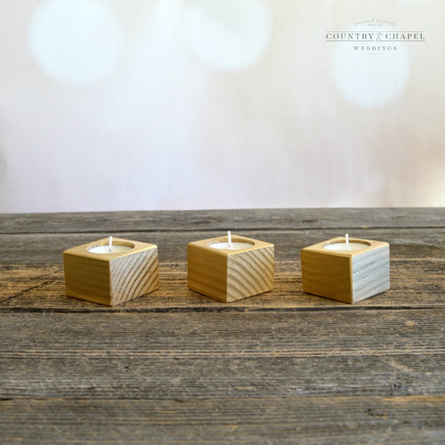 Gold Square Tealight Candle Holder • Short