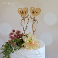 Mr. and Mrs. Heart Cake Topper