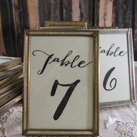 Vintage Gold Frame and Calligraphy Table Numbers ~ Choose Your Size