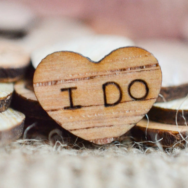 """I Do"" Wood Heart Confetti  0.5"""
