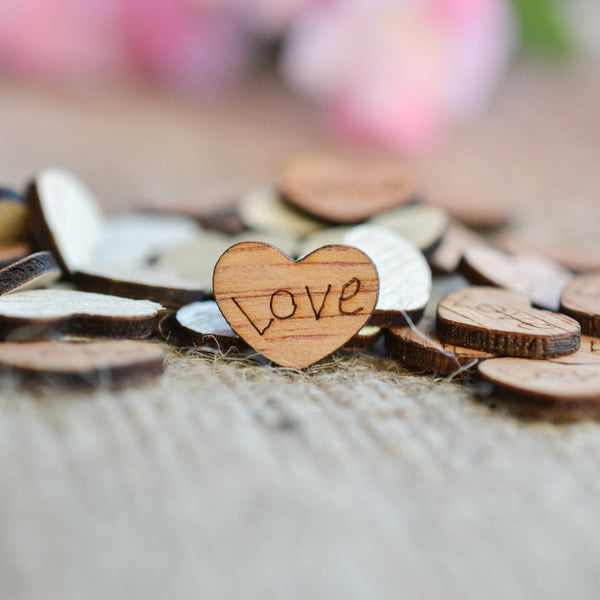 """Love"" Wood Heart Confetti  0.5"""