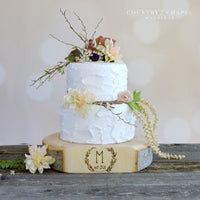 Monogrammed Wreath Cake Stand
