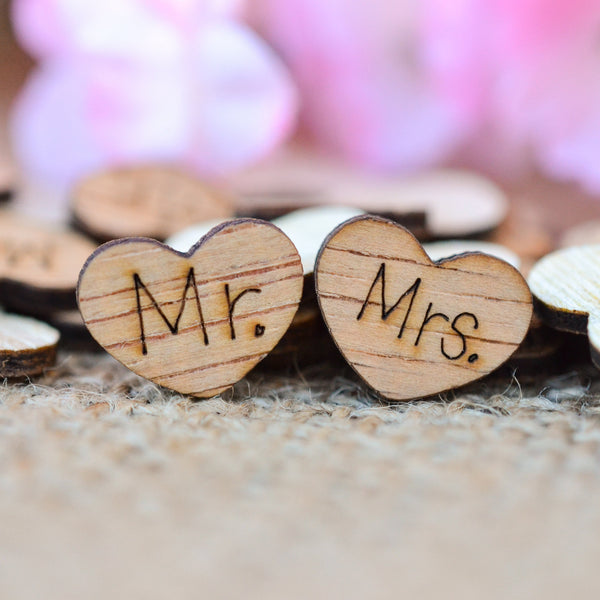 """Mr."" and ""Mrs.""  Wood Hearts  0.5"""