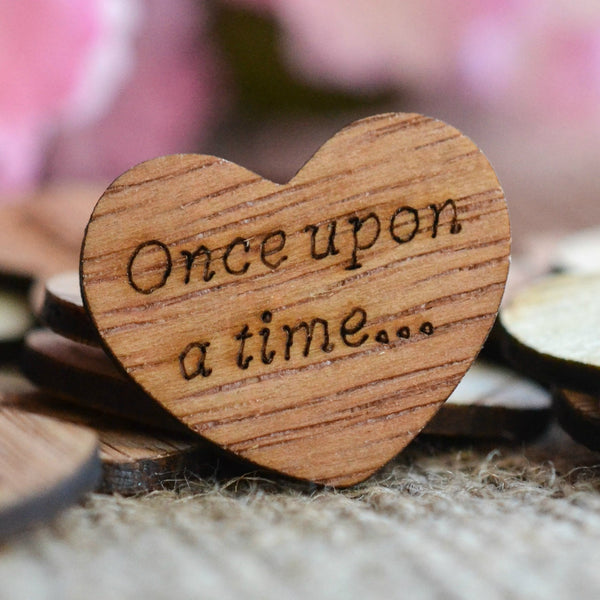 """Once Upon a Time"" Wood Heart Confetti"