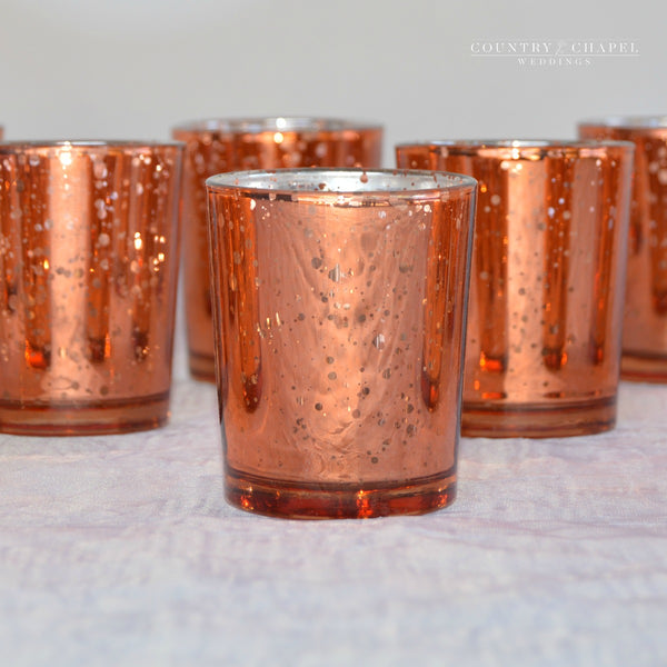 Rose Gold Mercury Glass Candle Holders