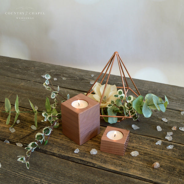 Rose Gold Square Tealight Candle Holder • Tall or Short