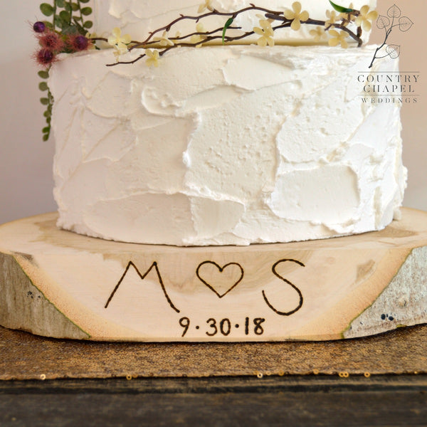 Personalized Wood Slice Cake Stand