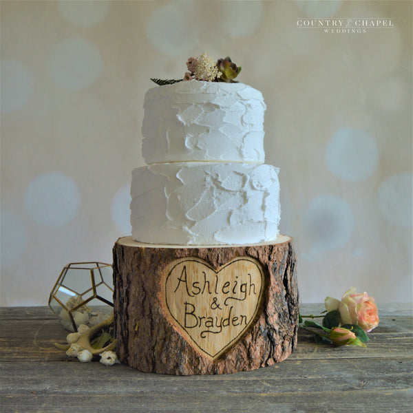 Personalized Heart in Tree Cake Stand
