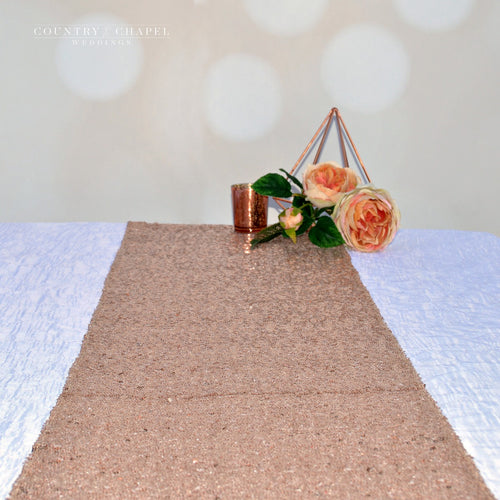 Romantic Rose Gold Sequin Table Runner