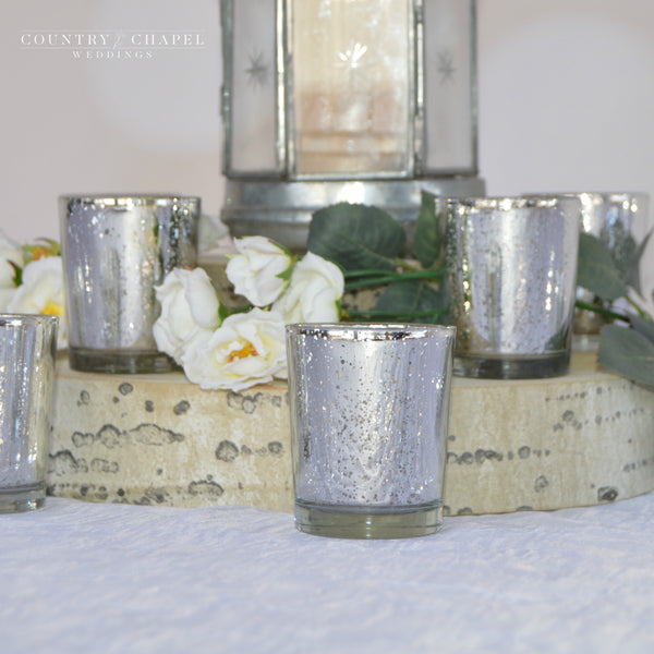 Shiny, Sparkly Silver Candle Holders