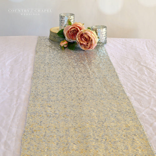 Sparkly Silver Sequin Table Runner