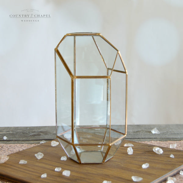 Tall Gold Geometric Terrarium