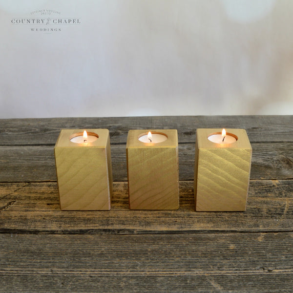 Gold Square Tealight Candle Holder • Tall