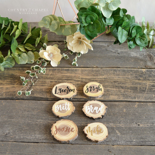Elm Wood Slice Place Card