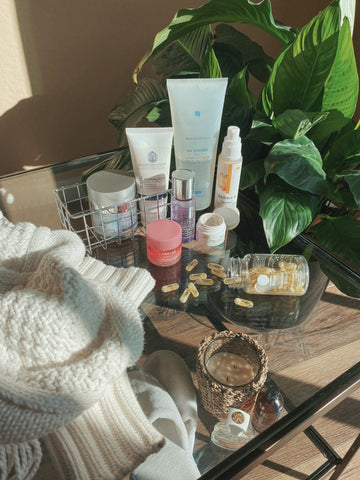 model beauty routine skincare products