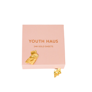 Youth Haus 24k Gold Sheet Mask in pink box