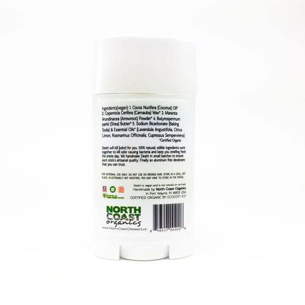 North Coast Organics Certified Organic Deodorant Photo - Death By Lavender Back Label