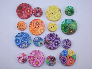 Shades of Blue Floral Buttons