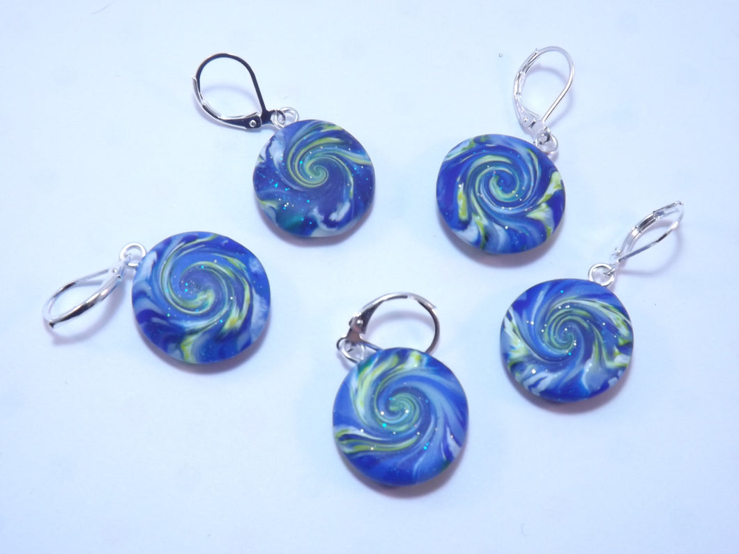 Starry Night Swirl Stitch Markers