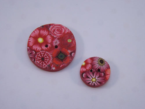 Shades of Red Floral Buttons