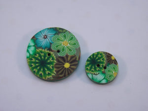 Shades of Green Floral Buttons