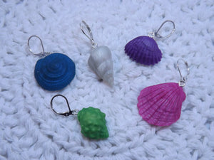 Shimmery Sculpted Seashells Stitch Marker Set