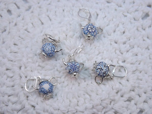 Pretty Delft Blue Teapot Stitch Marker Set