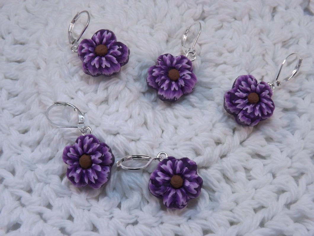 Pretty Purple Sculpted Flower Stitch Marker Set