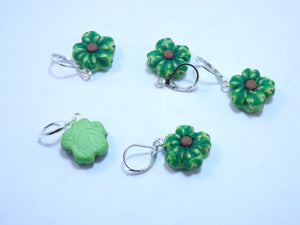 Gorgeous Green Sculpted Flower Stitch Marker Set
