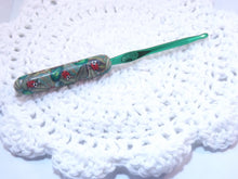 Ladybugs on Leaves Polymer Clay Covered Crochet Hook