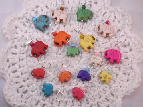 Dyed Howlite Carved Elephants Stitch Marker Set