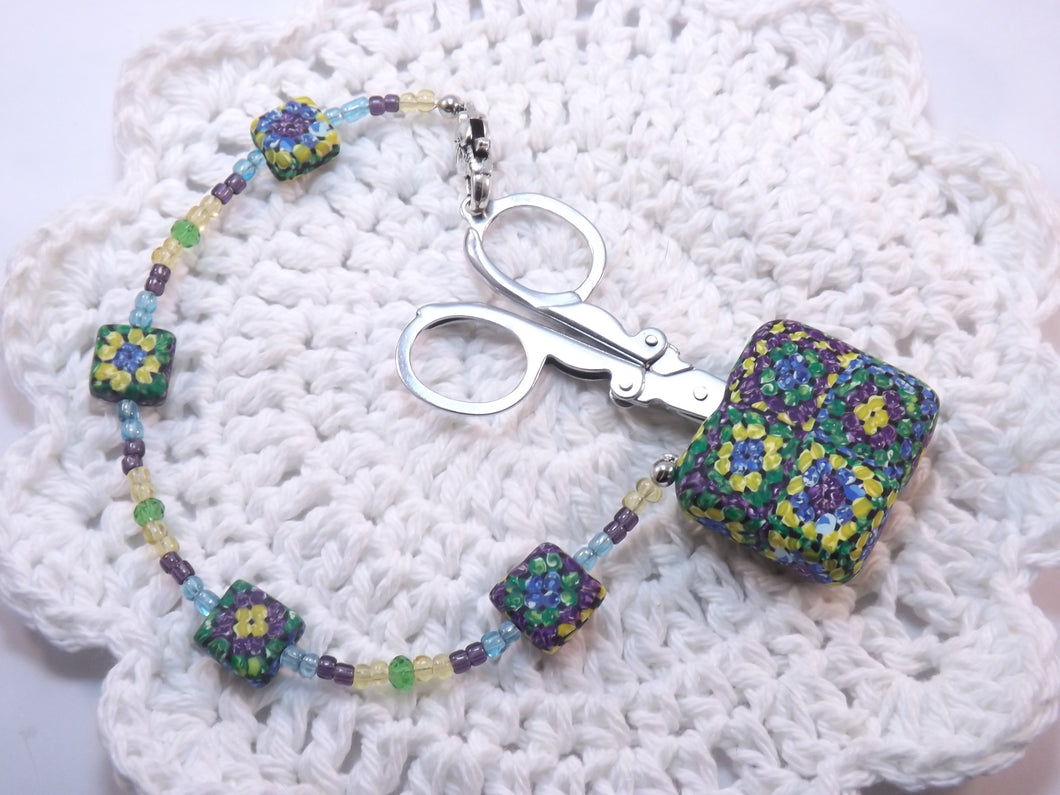 Compact Scissors with a Granny Square Fob
