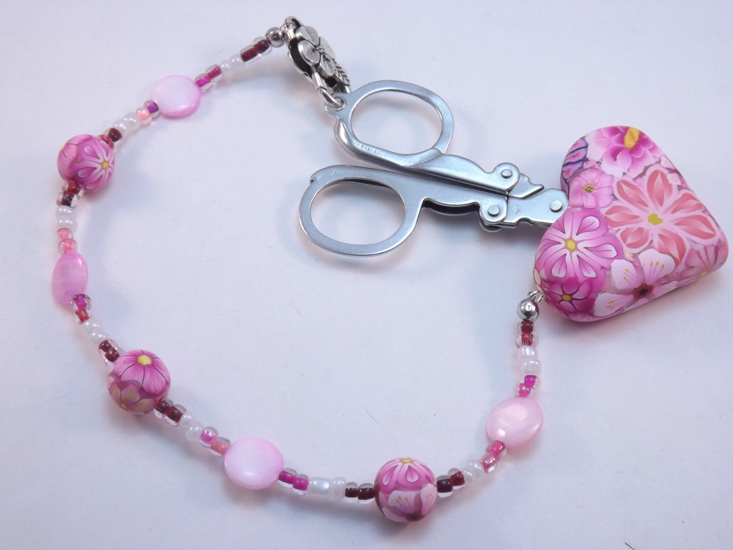 Compact Scissors with Pink Floral Fob