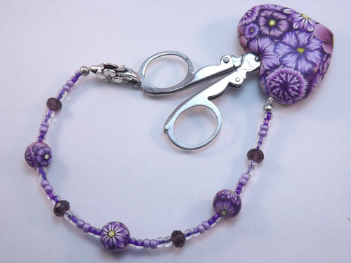 Compact Scissors with Purple Floral Fob