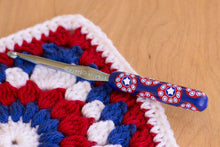 Patriotic Red, White and Blue Bunting Polymer Clay Crochet Hook