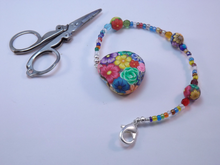 Compact Scissors with Colorful Floral Fob