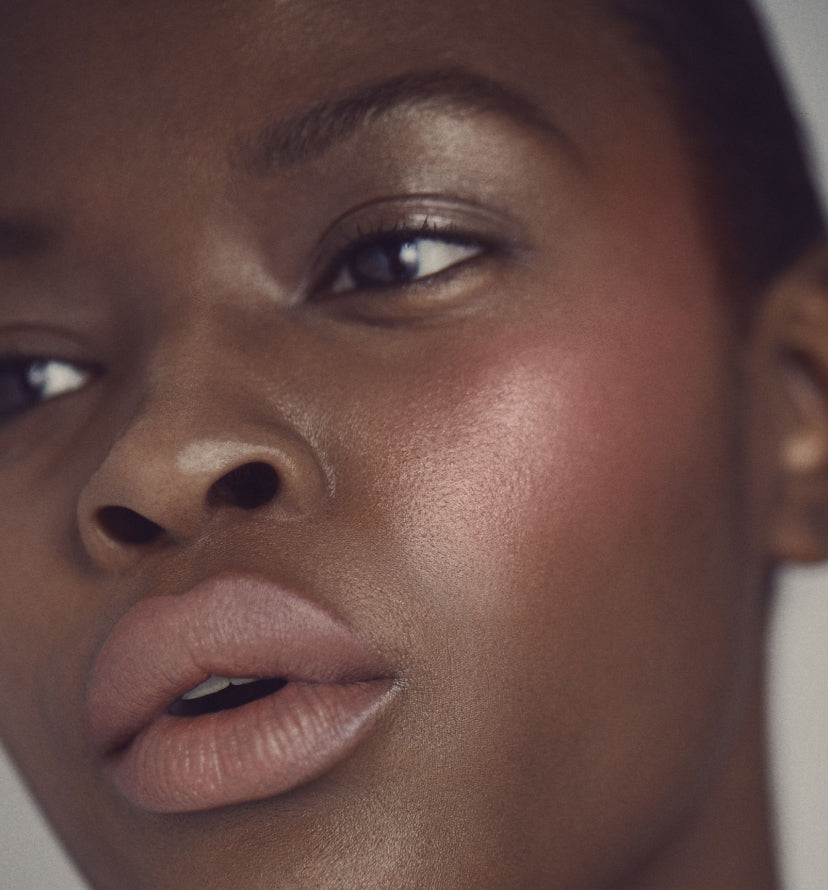 close up of model's face